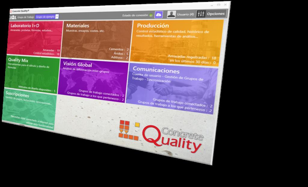 Este es el menú principal del paquete de software Concrete Quality