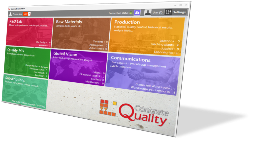 This is the main menu of the Concrete Quality application package