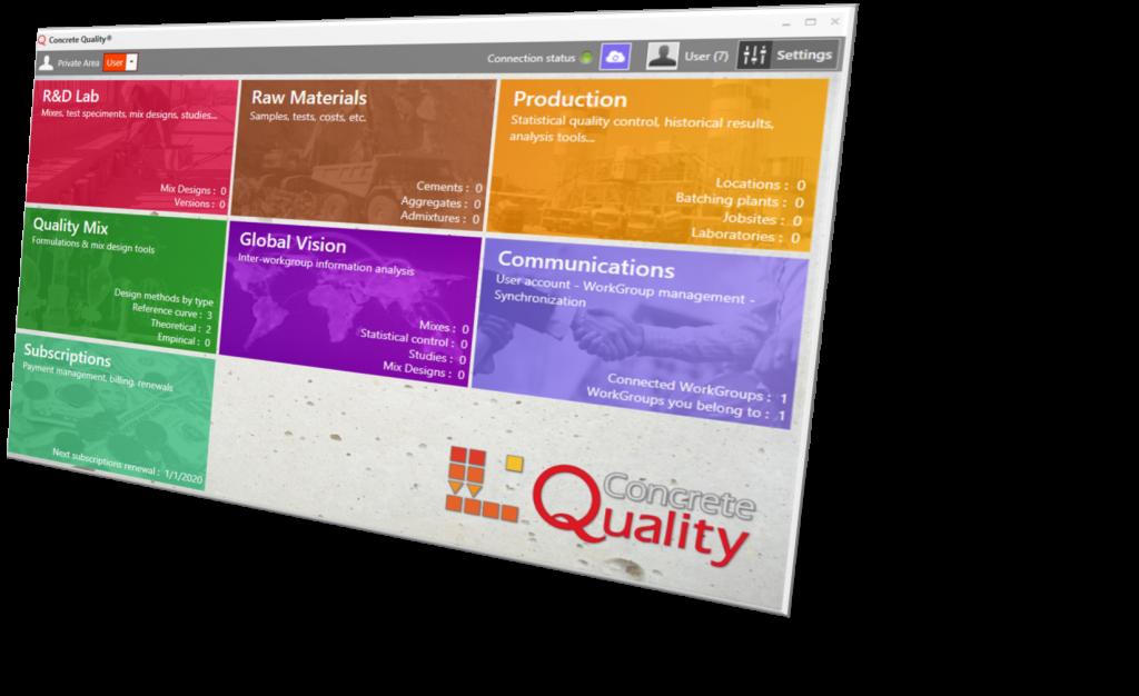 Un aperçu de l'écran principal de Concrete Quality